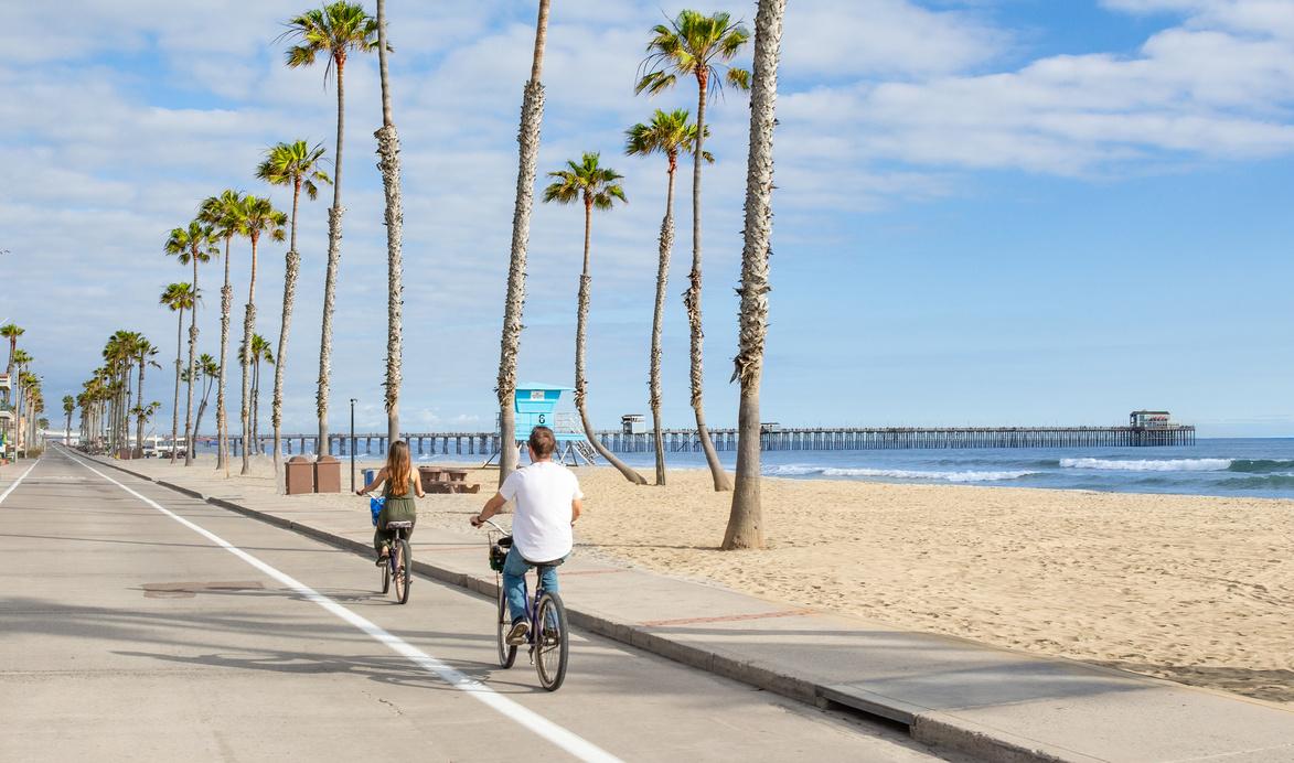 biking at the beach