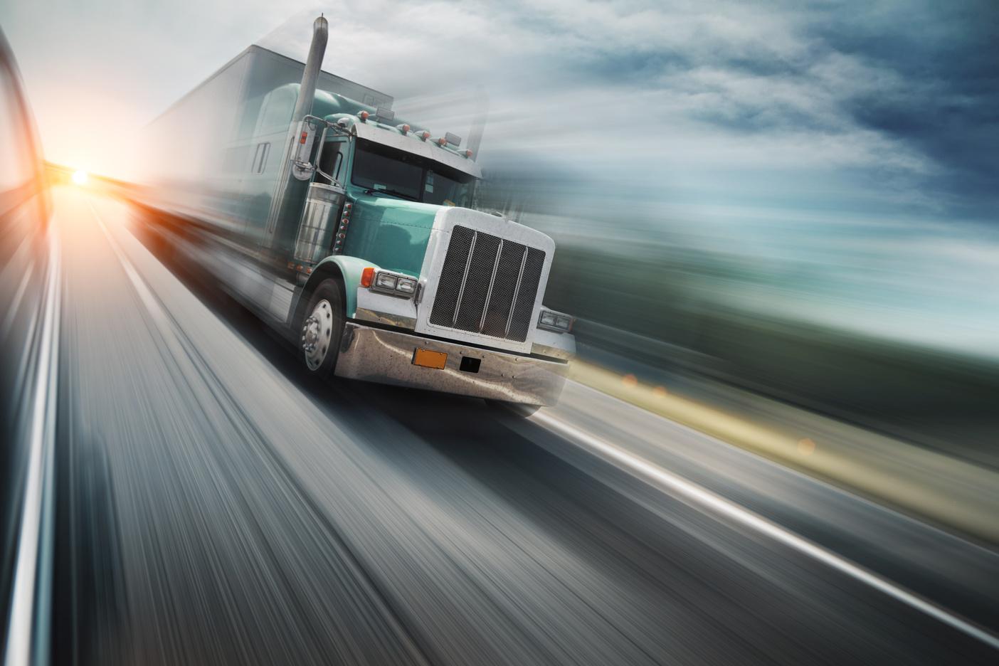 speeding big rig truck